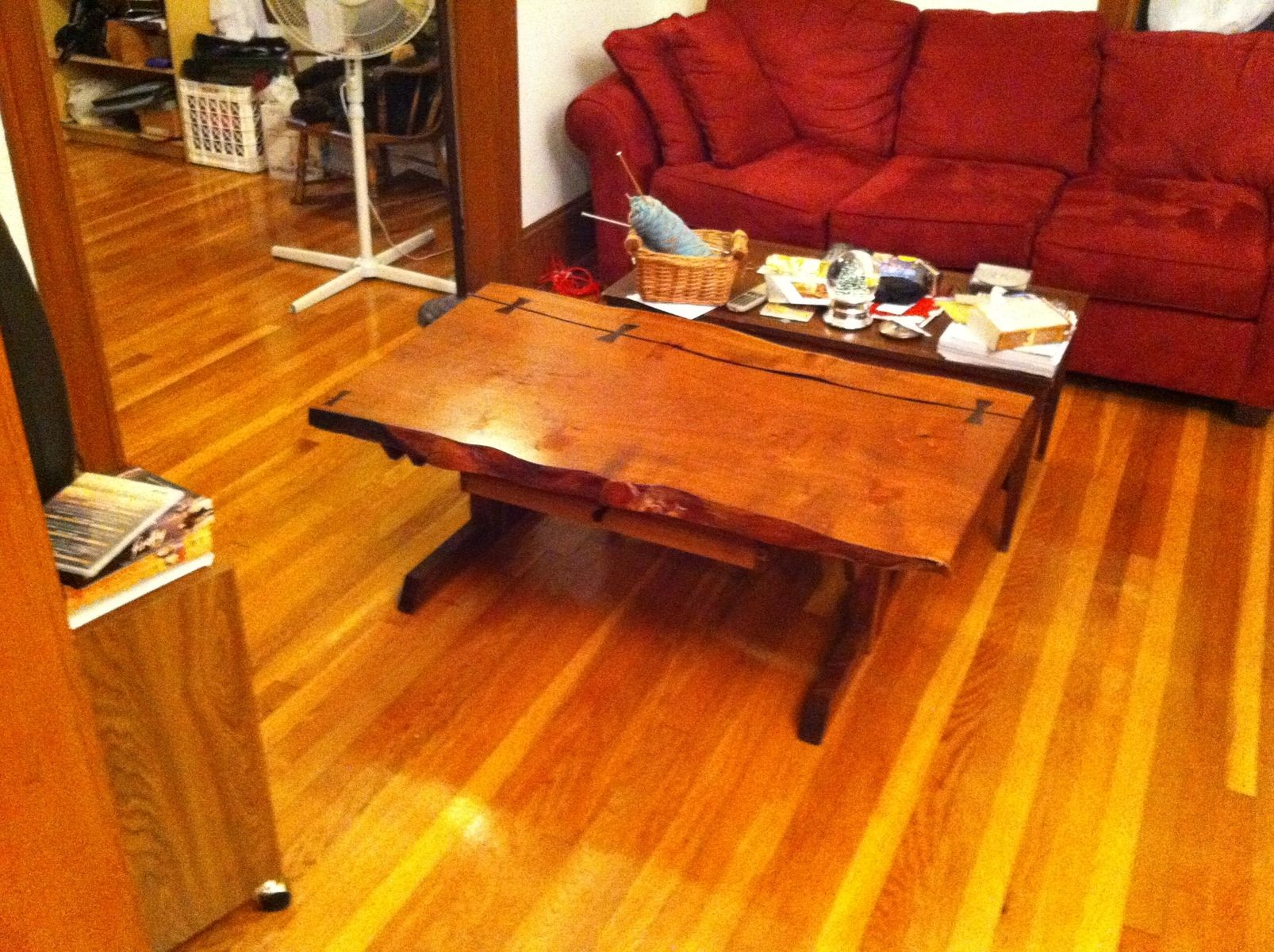 Custom Black Mesquite Slab Coffee Table by Watriss Woodwork