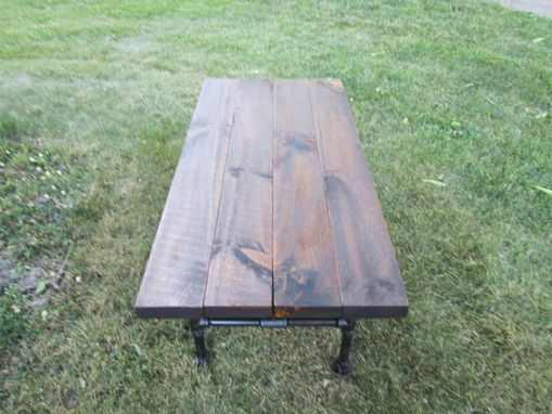 Custom Made Reclaimed Wood Industrial Coffee Table Pipe Leg Table