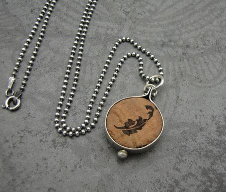Custom Made Recycled Wine Cork Top And Sterling Silver Pendant Necklace