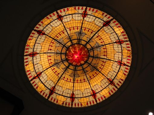 Custom Made Illuminated Stained Glass Domed Ceiling In The Lobby Of The Marriott World Financial Center In Manhattan,Ny