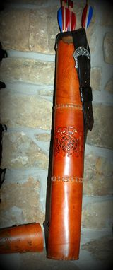 Custom Made Leather Archery Quiver With Tooled Celtic Dragons