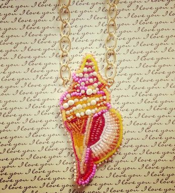 Custom Made Seed Bead Embroidered Conch Shell Necklace