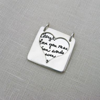 Custom Made Silver Peek-A-Boo Necklace With Your Actual Handwriting