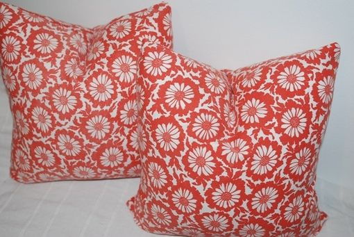 Custom Made Red Floral Vintage 1970'S Pillow Cover
