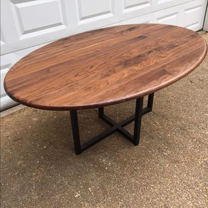 Mid Century Dining Table Oval Metal Base By Sara Araoz