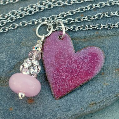 Custom Made Valentine Jewelry Enamel Heart Pendant Necklace Copper Rhinestone Dangle Pink