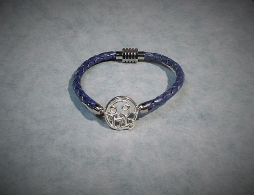 Custom Made Silver And Leather Zodiac Sign Bracelet Scorpio - Cancer