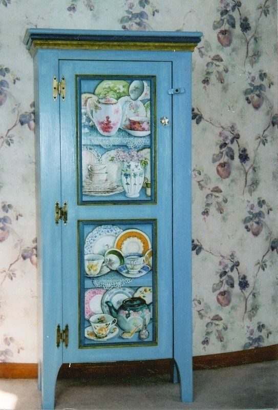Hand Made Cabinet Painted With Trompe L Oeil Shelves