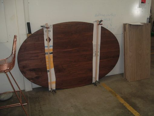 "Custom Made 77"" X 48"" Solid Walnut Oval Tabletop (For Client's Tulip Table Base)"