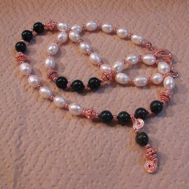 Custom Made White Pearl And Indian Bloodstone Necklace With Spiral Drop, In Copper
