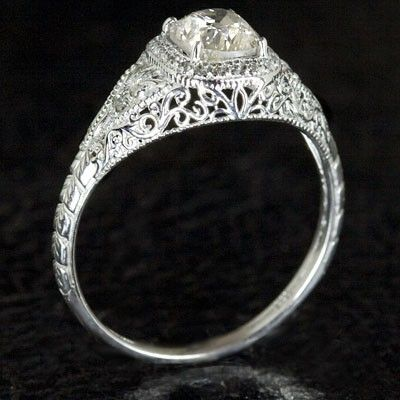item filigree platinum heirloom in image products diamond engagement art filligree engraved deco rings ring inset