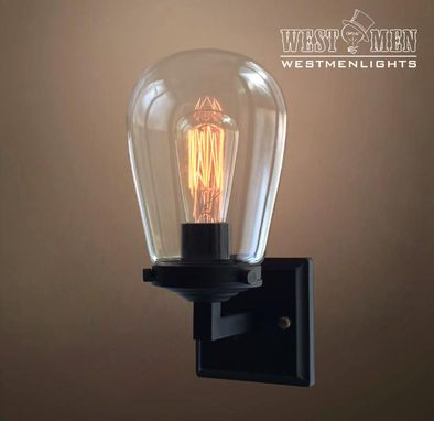 Custom Made Clear Glass Edison Wall Sconce Lamp