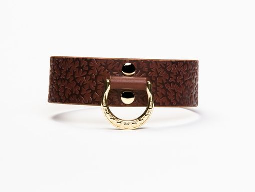 Custom Made Leather Bondage Collar - Chestnut Brown Latigo - Spotted Brass Lead Ring - Brass Fasteners