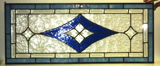 Custom Made Bevels And Blue Stained Glass Transom  (Tw-11)