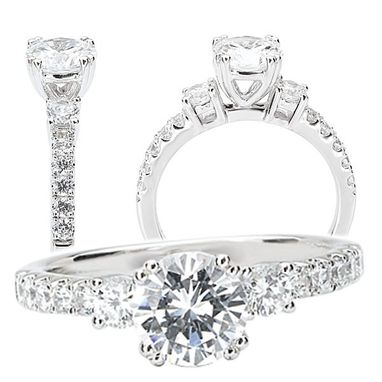 Custom Made 18k White Gold 3-Stone Diamond Engagement Ring Semi-Mount