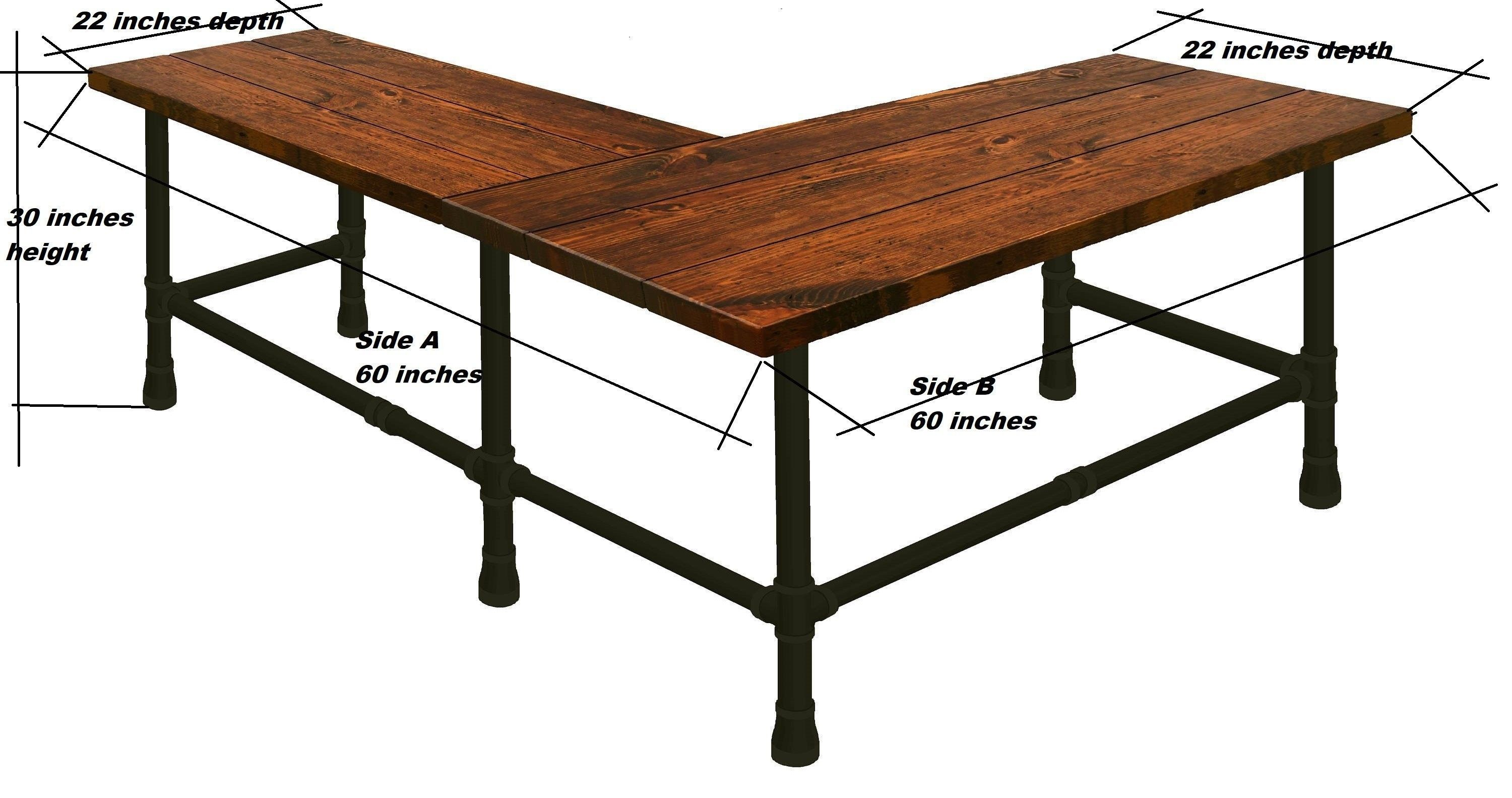 L Shape Desk Made In Solid Wood