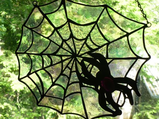 Custom Made Iridescent Spider In Web Stained Glass Panel
