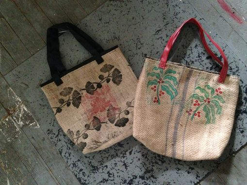 Custom Made Up Cycled Burlap Coffee Bag Totes