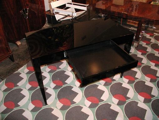 Custom Made High Gloss Piano Black Contemporary Desk