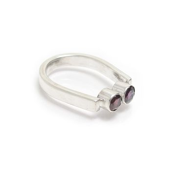 Custom Made Amethyst Garnet Ring - Cranberry Garnet - Purple Gemstone Contemporary Ring