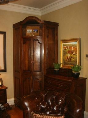 Custom Made Custom Corner Cabinet W Chest In Walnut - Custom Made To Hold Computer, Printer, And Hanging Files