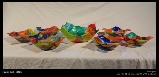 Custom Made Fused Glass Salad Bowl Set