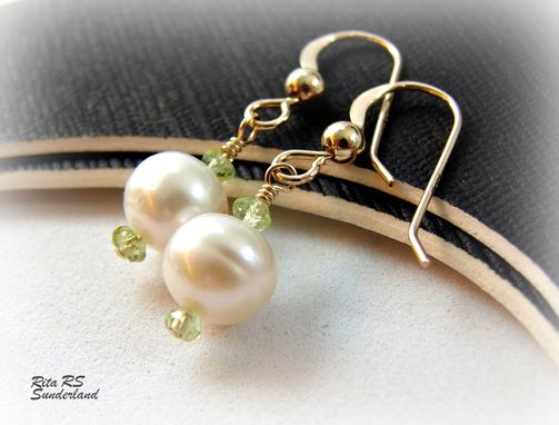 Custom Made White Pearls And Green Peridot 14k Gf Bridesmaid Earrings