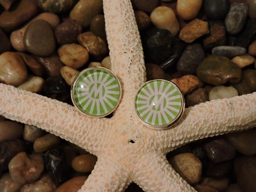 Custom Made Custom 16mm Sterling Silver Plated Glass Bezel Cuff Links
