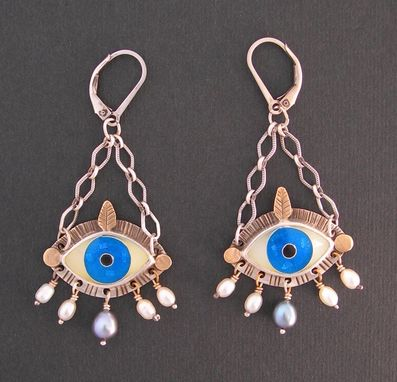 Custom Made Enamel Evil Eye Earrings - Blue