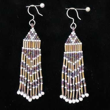 Custom Made Beaded Earrings, Tan, White, And Blue Shades, Dangling, With Fine Silver Earwire