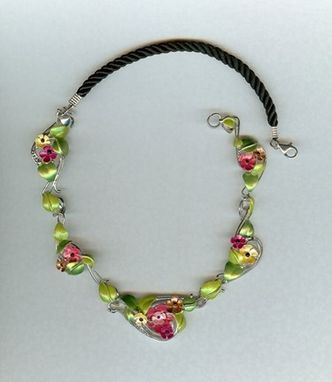 Custom Made Colored Sterling Flowers And Leaves Necklace.
