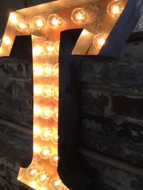 "Custom Made Metal Letter Sign Light Fixture Rust Industrial For One 20"" Tall Letter"