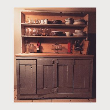 Custom Made Reclaimed Hutch With Butcherblock
