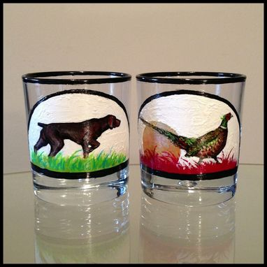 Custom Made Pheasant And German Short Hair Pointer. Jack And Coke Glasses.