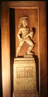 Custom Made Solid Oak Usc Tommy Trojan Carved Entrance Door