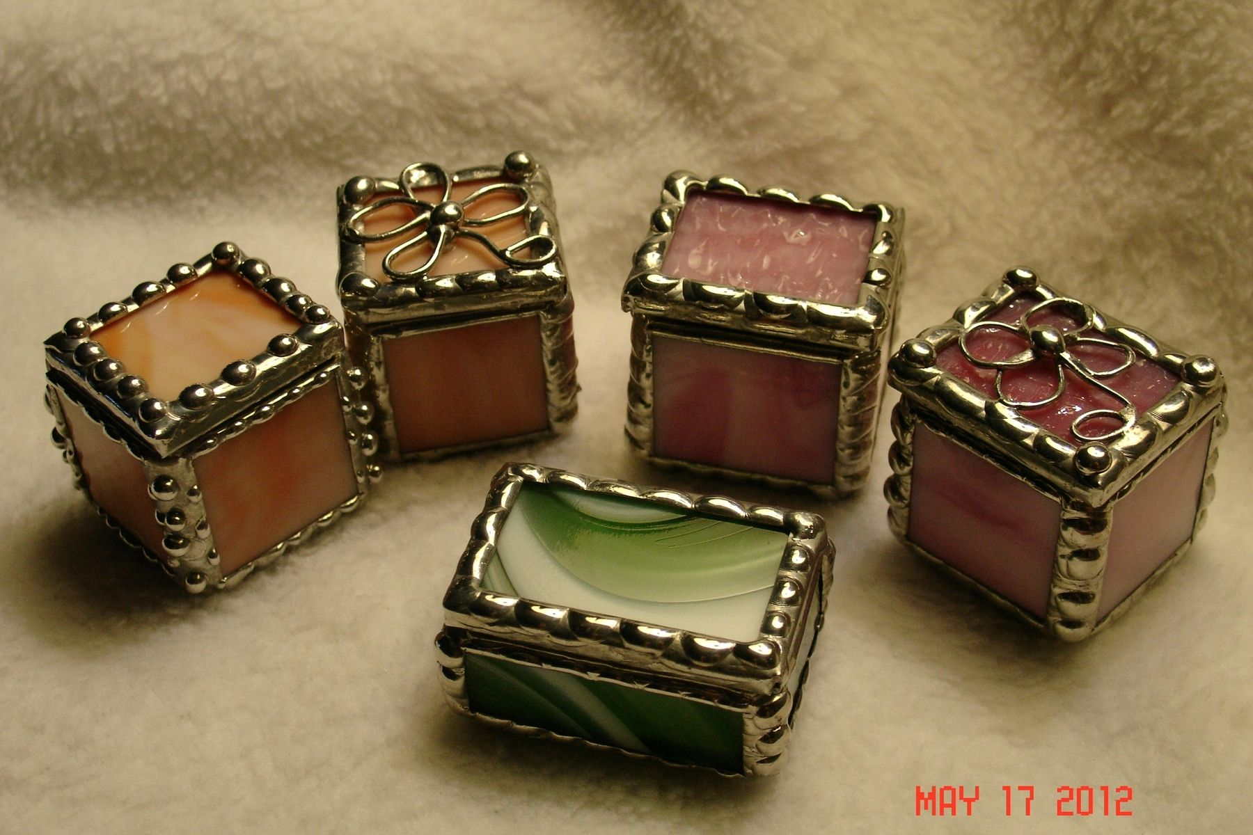 Hand Made Stained Glass Mini Ring Boxes In 1 X 1 X 1 By Artistic
