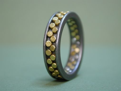 Custom Made Titanium Wedding Ring With 24k Gold Rivets
