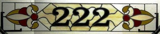 Custom Made Stained Glass Window Transom - Narrow With House Numbers And Ruby Gems (Am-10)