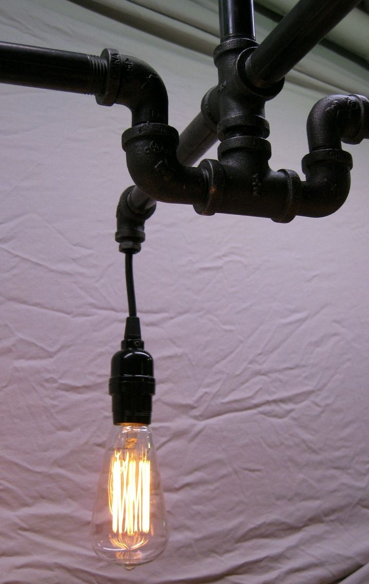 Hand Made Industrial Steampunk Black Malleable Iron 4 Bulb Chandelier By Milton Douglas Lamp