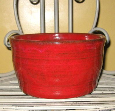 Custom Made Stoneware Baking Crock Perfect For Breads, Cakes In Deep Brilliant Red