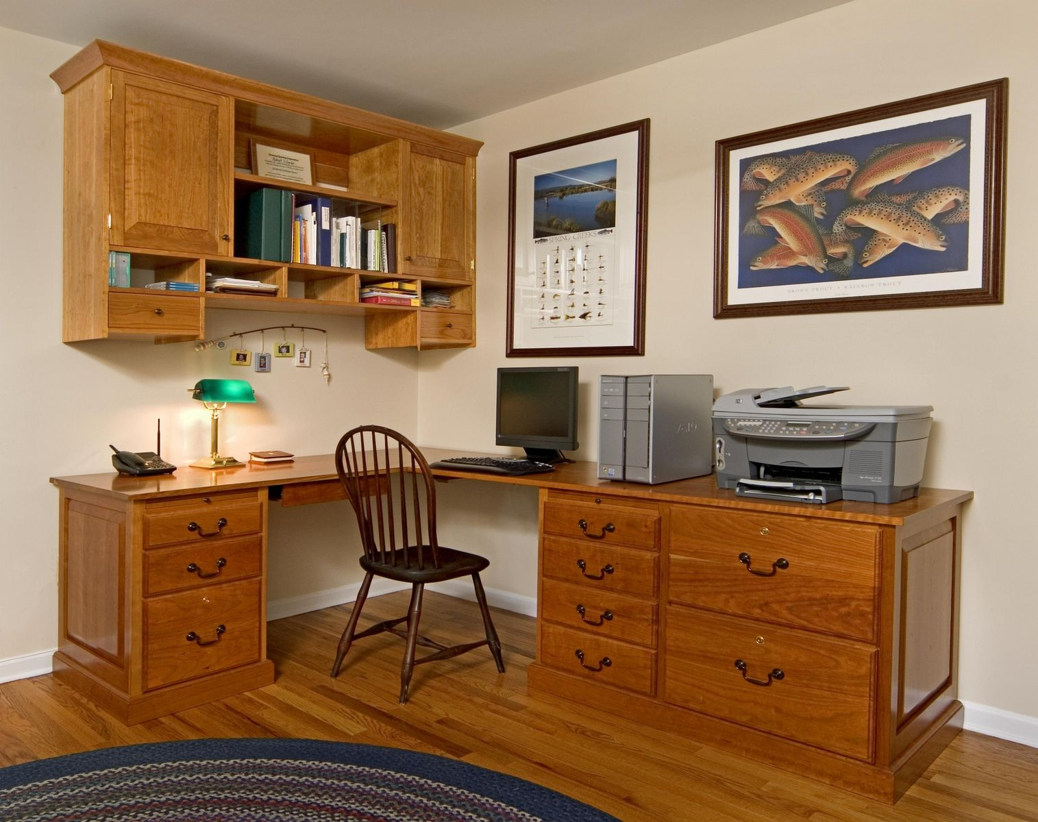 custom made custom home office desk and cabinet