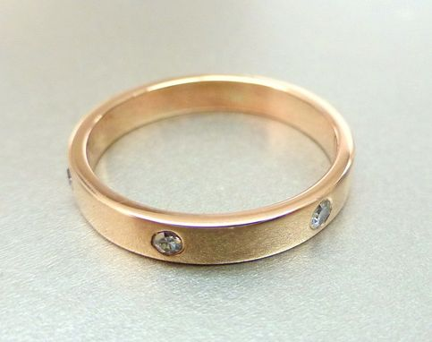 Custom Made 14k Pink Gold Diamond Wedding Band