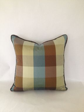 Custom Made Set Of 2: Brown, Green And Blue Plaid Silk Pillow Covers