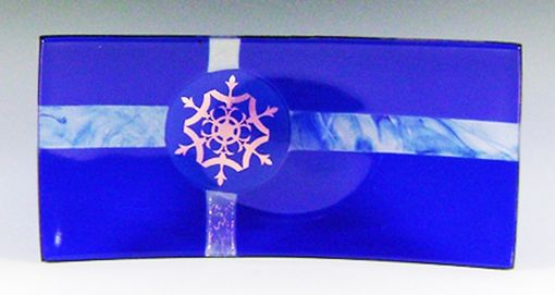Custom Made Blue Fused Glass Snowflake Plate
