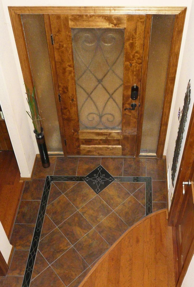 Handmade custom entryway grand foyer floor tile medallion and custom made custom entryway grand foyer floor tile medallion and border laser etched absolute dailygadgetfo Choice Image