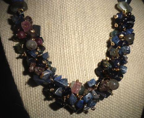 Custom Made Dumorite Cluster Necklace With Tourmaline Rough, Labradorite Beads