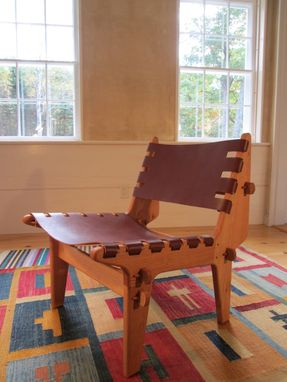 Custom Made The Sling Chair: A Hand-Crafted Oak And Leather Lounger