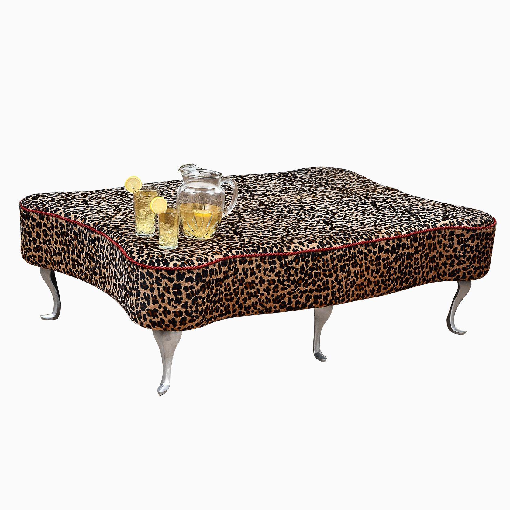 Custom Made Leopard Leather Hair On Hide Ottoman Coffee Table