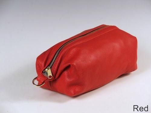 Custom Made Red Leather Shave Bag