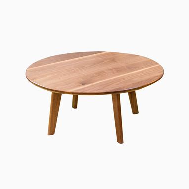 Custom Made Mid Century Modern Inspired Solid Walnut Round Coffee Table, The Mila